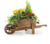 . Wheel Barrow Garden Planter Burnt Wood Wooden Moder Flower Pot