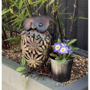 Metal Novelty Owl With Flower Pot Garden - 32.5cm Height
