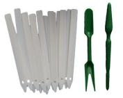 White Plant Labels & Dibber Fork Seed Seedling Set