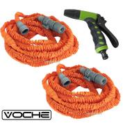 Voche 15m Orange Expanding Stretch Compact Garden Hose + Premium Jet Spray Gun