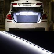 iJDMTOY 18-SMD Xenon White LED Strip Light For Car Trunk Cargo Area For Acura Audi BMW Chevy Dodge Ford Honda for Hyundai Infiniti Jeep Lexus Mercedes fits Nissan Porsche Scion Subaru Toyota Volkswagen