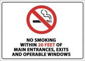 ZING 1872 No Smoking Sign, Within 6.1m, 7inH, Plstc