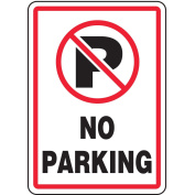Text and Symbol No Parking, Vinyl Parking Sign, Height 36cm , Width 25cm