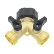 Ignpion 2 Way Brass Tap Manifold With Individual On/off Valves, Tap Adaptor For