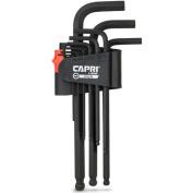Capri Tools Hex Key Wrench Set, Long Arm Ballpoint End, SAE, Premium S2 Steel