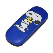 Snoopy Children's Glasses Case In Blue/black With Metal Hinge