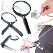 Handheld Hands Free Magnifier Glass Magnifying Led Light Up To 5x Magnification