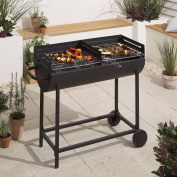 New Tesco Dual Chrome Plated Grill Charcoal Bbq - Black