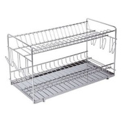 Sauvic 90970 - Dish Drainer, In 304 Stainless Steel, Super Large For 20 Dishes,