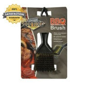 2 X Kingfisher Bbq Brass Bristle Cleaner Brushes With Metal Scrapers