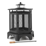 Garden Fireplace Fire Bit Bowl Cage Thaermal Paint Outdoor Poker Grid Lock Ash