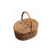 2 Tone Wicker Picnic Hamper Shopping Basket Storage With Lid Green Brown Willow