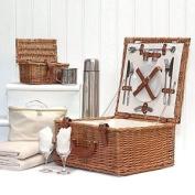 Deluxe Harpenden 2 Person Wicker Picnic Hamper Basket With Accessories