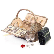 2 Person Luxury Harrington Barrel Picnic Hamper Basket With Accessories And