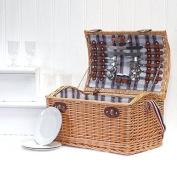 Stretford 4 Person Family Size Wicker Picnic Hamper Basket - Perfect Idea