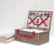 Red Chiller Deluxe 4 Person Luxury Picnic Hamper Basket & Cream Fleece Blanket