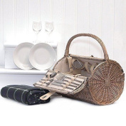 2 Person Harrington Style Barrel Picnic Basket Hamper With Accessories And - For