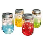 Multi Colour Glass Jars - Solar Powered - Table Lights - Warm White Leds - Pack