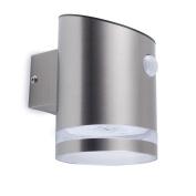 B#smartwares Solar Wall Light With Pir Sensor Silver Lamp Outdoor Garden 5000.70