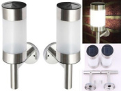 2 Stainless Steel Solar Powered Led Wall Light Fence Lamp Outdoor Garden Lights