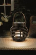 Round Rattan Lantern Flickering Candle Effect Solar Powered Amber Outside Led