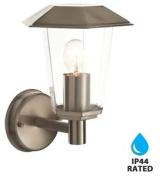 Modern Brushed Stainless Steel Ip44 Outdoor Lantern Wall Light Garden Porch