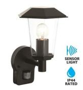 Modern Black Ip44 Pir Motion Sensor Outdoor Lantern Wall Light Garden Porch New