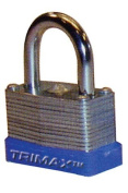 "Trimax TLM87 Dual Locking 30mm Solid Steel Laminated Padlock with 7/8"" x 3-1/16"" Dia. Shackle"