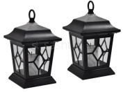 2 Solar Powered Flickering Led Hanging Candle Lanterns Lamps Coach Garden Light