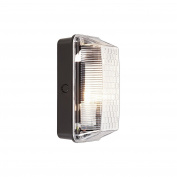 Matt Black Polycarbonate Outdoor Oval Bulkhead Wall Light Fitting - 100w