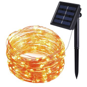 Oria 8 Modes Solar Powered String Lights, 100 Led Starry Fairy Lights, Outdoor