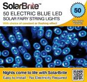 Solar Fairy Lights 50led Blue Super Bright Decorative String, Choice Of Light