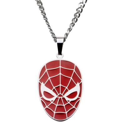 Marvel Men's Stainless Steel Spider-Man Red Face Pendant, 60cm Chain