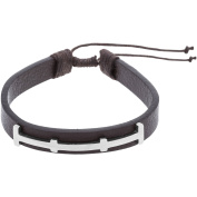 1913 Steel Stainless Steel Bar with Brown Leatherette Bracelet