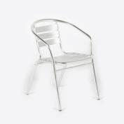 Outdoor Furniture Bistro Garden Patio Chair Lightweight Aluminium Silver Balcony