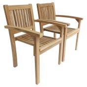 Charles Bentley Pair Of Solid Wooden Teak Stacking Armchairs Garden Patio