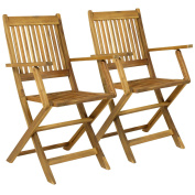 Charles Bentley Fsc Pair Of Wooden Outdoor Dining Patio Foldable Armchairs