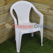 White Plastic Garden Furniture Low Back Chair With Rattan Effect Back