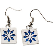 Charming Accents Wire Earrings, Blue Block