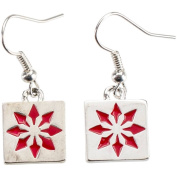 Charming Accents Wire Earrings, Red Block