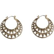 Gold-Tone Filigree Snap Hoop Earrings