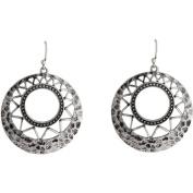 Silver-Tone Hammered Gypsy Hoop Earrings