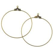Antiqued Brass Beading Hoop Earring Findings With Loop - 40mm Diameter