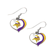 Minnesota Vikings NFL Glitter Heart Swirl Dangle Earrings w/Gift Box