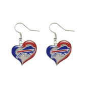 Aminco NFL Buffalo Bills 1.9cm Swirl Heart Earrings Dangle Charm Team Logo w/Gift Box