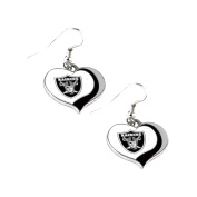 Oakland Raiders NFL Glitter Heart Swirl Dangle Earrings w/Gift Box