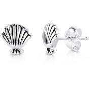 Disney Princess Women's Sterling Silver Little Mermaid Shell Stud Earrings