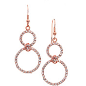 X & O Handset Austrian Crystal 14kt Rose Gold-Plated Two Circle Drop Earrings