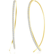 Angelique Silver CZ 18kt Gold over Sterling Silver Curved Bar Pull-Through Earrings