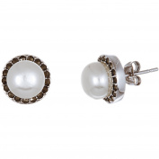 Angelique Silver 18kt White Gold over Sterling Silver Oxidised Round Pearl Marcasite Post Earrings
